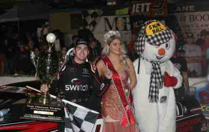 Noah Gragson enjoys a moment with Miss Snowball Derby Helena Ciappina after the biggest victory of his career. (Buddy Bryan photo)