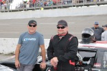 Chris Davidson (right) and his adviser Mike Garvey chat before the last chance race. Davidson won that consi and ran as high as seventh in the main event. (Jim Carson photo)