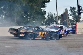Stewart Friesen (112) and Austin Nason get tangled up in an early accident in turn two. (Kim Kemperman photo)