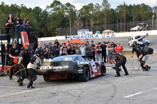Polesitter Harrison Burton gets service from his pit crew. (Kim Kemperman photo)