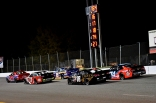 Ty Gibbs (17) and eventual winner Derek Kraus (16) take a late restart up front in the NASCAR K&N Pro East Series race ahead of Colin Garrett (18) and Brandon McReynolds. (Kim Kemperman photo)