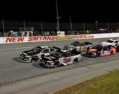 Drew Dollar (54) and Hailie Deegan (19) prepare for the start of the NASCAR K&N Pro East Series event, just ahead of Brandon McReynolds (74) and Sam Mayer. (Kim Kemperman photo)
