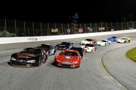 Todd Stone starts a Pro Late Model race from the pole next to Jeremy Miller (Kim Kemperman photo)