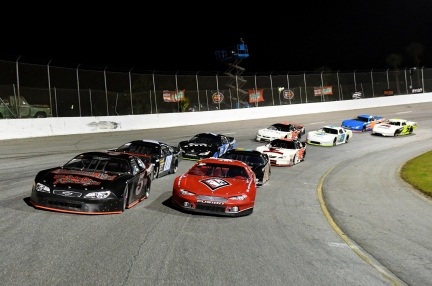 Todd Stone starts a Pro Late Model race from the pole next to Jeremy Miller (Kim Kemperman photo)