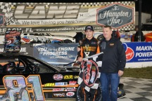 Pro Late Model champion Sammy Smith enjoys his final trip to victory lane with his father Kurt.