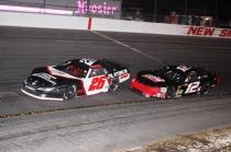 Travis Braden gets loose in front of Super Late Model Orange Blossom 100 winner Derek Griffith. (Mike Lysakowski/ Motorsport Aspects)