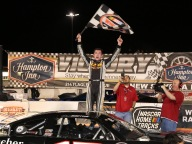 Derek Griffith emerges from his car with a victory in the 100-lap Super Late Model finale. (Michael Fettig/ actionshotsphotography.com)