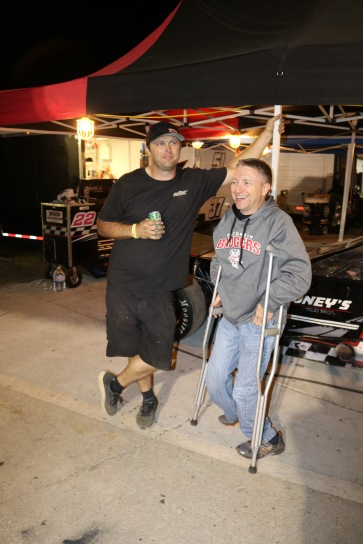 Travis Kvapil (left), the father of Super Late Model teenage star Carson Kvapil, chats with Dean Strom, who had some announcing duties over the weekend at nearby Daytona International Speedway. Strom was the PR director of the old NASCAR Midwest (RE/Max Challenge) Series when Travis was a regular competitor in 1998-2000.