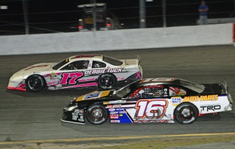 Pro Late Model Sunday race winner Giovanni Scelzi (16) lapping Chuck Tuck - Todd Ridgeway photo