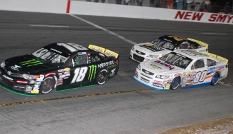 ARCA Menards Series East teenage stars Ty Gibbs (18) and Sam Mayer (21) lapping Brian Finney (80) - Mike Lysakowski/Motorsport Aspects