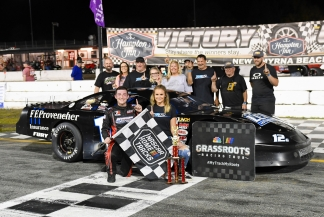 Derek Griffith and the LCM Motorsports crew, plus his girlfriend Emily Lanpher, were the top darlings of Speedweeks, with his Super Late Model championship and his second-place finish in the ARCA Menards Series East race in his heavy-car debut (Kim Kemperman photo)