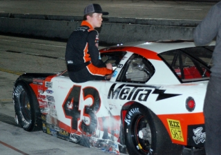 Daniel Dye watches the end of a Late Model race. He also suffered a DNF in his ARCA Menards Series East race (Mike Lysakowski/Motorsport Aspects)