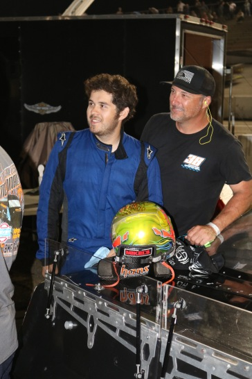 Super Late Model rookie Max Calles-McDonald with his crew chief and engine specialist Jerrad Warren (Jim Carson photo)