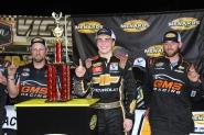 ARCA Menards Series East race winner Sam Mayer with two GMS Racing crew members (Kim Kemperman photo)