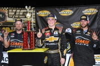 ARCA Menards Series East race winner Sam Mayer with two GMS Racing crew members (Kim Kemperman photo)