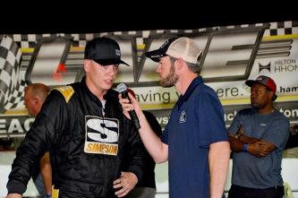 Stephen Nasse is interviewed after his Super Late Model victory in the next-to-last Super Late Model race of the week (Kim Kemperman photo)
